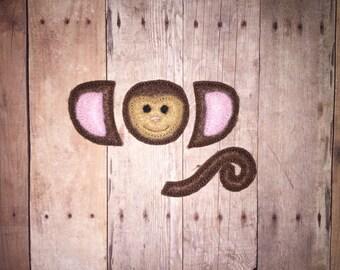 Monkey Face Oversize Bow Parts Piece Feltie Felt Embellishment Bow! Birthday Party Tail Face Oversized Mini Zoo Animal