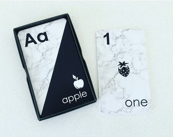Flash Cards | Monochrome | Marble Design | 36 Card Boxed Set | Teaching Aid | Abc's | Numbers | Baby Shower Gift