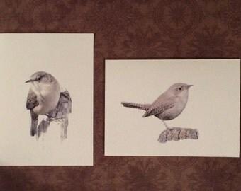Set of 6 or 12 Handmade Blank Wren Bird Print Note Cards