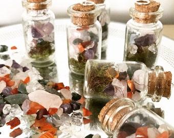 Gemstone Terrarium Vial , Minitures , Necklace