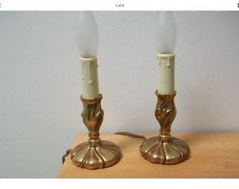 Marching Pair of Vintage French Bronze Budoir Lamps - rococo hollywood glam