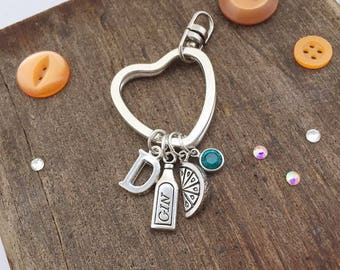 Keychain - gin gifts -  gin and tonic - personalised keyring - heart - personalised gift - letter charms - swarovski crystal - birthstone -
