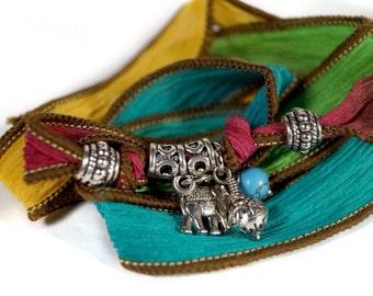 Silk Wrap Bracelet, Charm Bracelet, Boho Wrap Bracelet, Hippie Bracelet, Elephant Charm Bracelet, Gift for Her, Yoga Bracelet