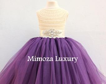 Plum Dress, Plum Flower girl dress, Aubergine dress, plum birthday dress, plum theme party dress, handmade plum dress, plum tulle dress