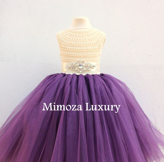 Plum Dress, Plum Flower girl dress, Aubergine dress, plum birthday dress, plum theme party dress, handmade plum dress, plum tulle dress