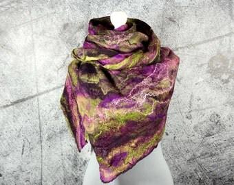 Felted Scarf,  felted Shawl, Cobweb,  merino wool,  wool scarf  -Feltmondo