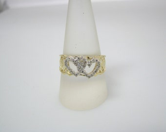 Pretty Ring with 2 Diamond Hearts Entwined in 14k Yellow Gold