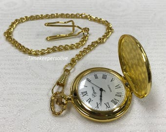 Elegant Retro Style Golden Tone Ciprini Pendant Pocket Watch with Chain