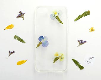 iPhone 7 case with real yellow and blue flowers and ferns