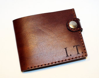 Personalized leather wallet,initial wallet, brown wallet, great leather item, brown men's wallet, credit card wallet, gift for men.