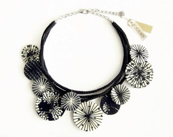 Unique Fabric Necklace, Textile Necklace, Black White Fabric Bib Necklace, Woman Gift Ideas, Gifts Under 50