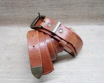 Vintage Women's Leather Belt - Brown Leather Belt - Brass Buckle Belt - Cowgirl Belt