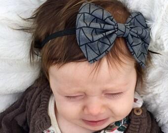 SALE: Dark Gray Triangles baby bow