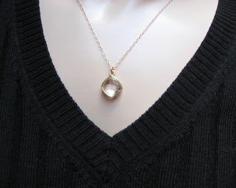 April Birthstone, 14k Gold Filled, Crystal Necklace, Crystal Bezel, Minimal Necklace, Crystal Pendant, Layered Necklace, Gift For Her
