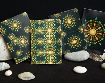 100 Mandala Flower Mini A7 Pocket Notebooks.  Gloss Cover Small holiday Journals, sketchbook, blank notebooks. Notebook sets. Spiritual art.