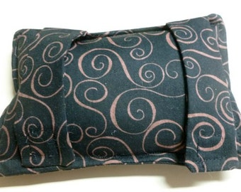 Port Softie Seatbelt Pad for Chemotherapy Patients - Black with Brown Swirl Print