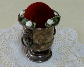 Handmade Tarnished Silver Pin Cushion with Red Velvet insert and Rose accents