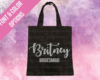 Bridesmaid Name Black Soft Canvas Tote -  Silver or Gold Glitter Text