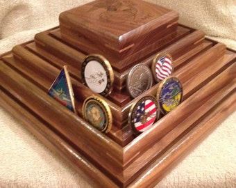 Military Challenge Coin Display, USMC, Army, Navy, Air Force Solid Hardwood, Black Walnut,