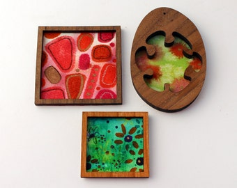 Set of 3 Miniature Artworks - Red and Green Modern Treasures
