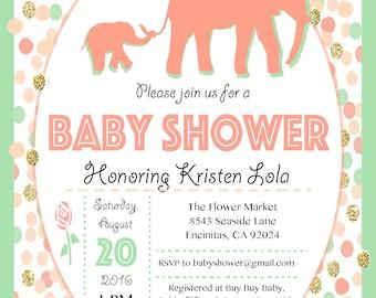 Elephant Baby Shower Invitation - Baby Girl
