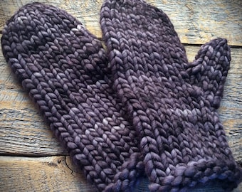 Bulky hand knit wool mittens