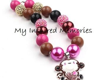 50% off sale-Monkey bubblegum necklace, Monkey necklace, Monkey chunky bubblegum necklace