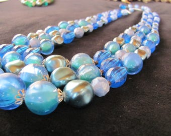 Vintage Multi-strand Blue Necklace, W Germany