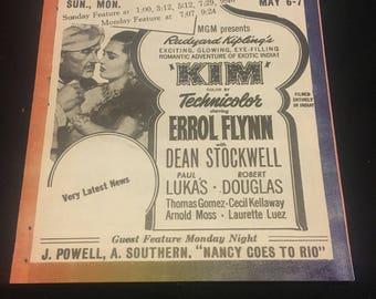 Original 1950 Movie Poster Theatre Herald Kim, The Enforcer, The Redhead And The Cowboy, 13th Letter Humphrey Bogart, Errol Flynn