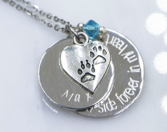 Dog Memorial Necklace, Pet Memorial Jewelry, No longer by my side Forever in my heart, Pet Loss Gift, Forever in My Heart, Dog Remembrance