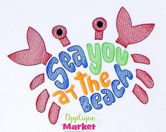 Sea You at the Beach Tee, Bodysuit, Dress, Bubble, Unisex Bubble, Ruffle Bubble, Romper, Flutter Bubble, Beach Applique, Crab Applique