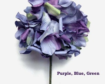 3 Stems of  Handmade Paper/Parchment Hydrangea-Purple, Blue and Green