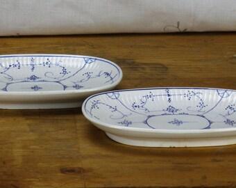 2 Small Villeroy & Boch Dresden Copenhague Oval Serving Dish Hors d'Oeuvre