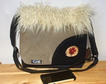 Big waterproof messenger bag, crossbody bag.  Large flap with fake fur, tote bag, cabas bag, waterproof bag