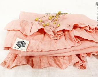 Linen coral pink pillow sham with ruffles -Softened linen pillow-Standard, queen, king sizes- Natural flax softened linen pillow