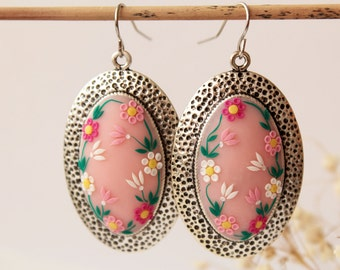 Pink flower earrings, colorful, hand embroidered, romantic earrings, pale pink, blush pink, polymer clay, Valentines gift for her, victorian