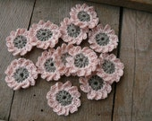 CUSTOM ORDER Crochet cream flowers applique, mini crochet motifs, 12 Petal embellishments, set of 24 crochet applique, flowers ornament