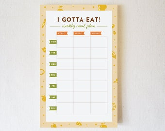 Notepad, Weekly Meal Plan, Weekly Meal Planner, Meal Prep, To Do Notepad, Meal Planner Notepad, Weekly Menu - I Gotta Eat!