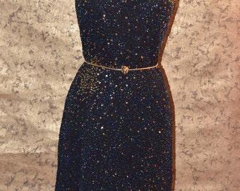 Vintage Estate Papell Boutique Evening Silk Beaded Dress