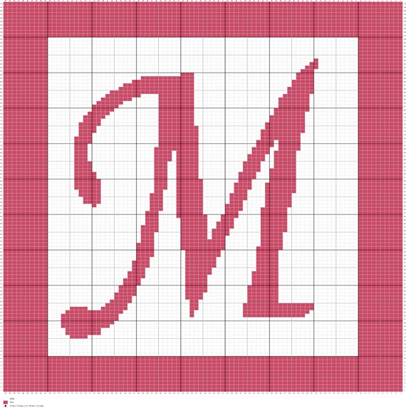 crochet letter m monogram written graph afghan pattern