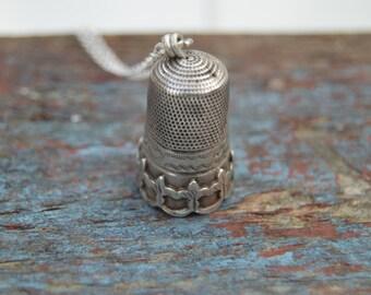 Victorian silver Gothic/Art nouveau european thimble necklace.