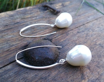 Long Sterling Silver Earrings with White Shell Pearl