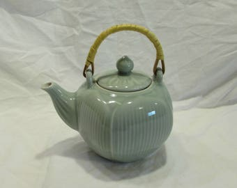 Teapot, Celedon, Porcelain China, Rattan Wrapped Handle, China, 1997