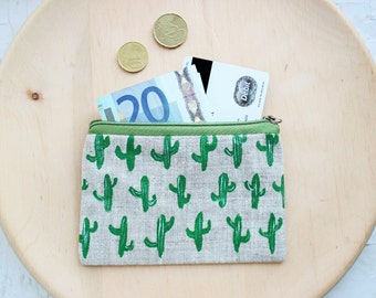 Cactus coin purse, cactus purse, small purse, cactus, credit cards case, makeup bag, linen purse, eco-friendly, gift for her, christmas gift