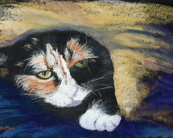 Pastel painting. Cat painting. Animal art. Cat art. Kitten painting. Cat portrait. Impressionist painting. Fine art. Custom painting.
