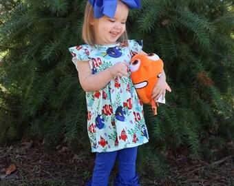 Fish Dress With Dash Forward Icing Ruffle Pants, Ruffles, Baby Girl pants, Capris, Clown Fish