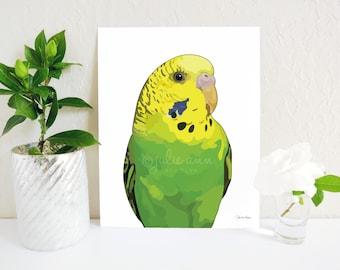 Parakeet Art Print, Green Budgie Print, Budgie Decor, Parrot Print, Parrot Art, Budgie Painting, Budgie Gift, Budgie Memorial, Parakeet Gift