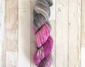 kick rocks | yui fingering|  hand dyed yarn | berry grey | 100% SW Merino Sock
