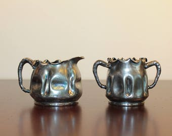 SET – Quadruple Plate Small Creamer and Sugar – Pairpoint Silver