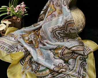 Silk Scarf, Mustard Gold Retro Paisley Print 100% Silk Square Scarf, Gold & Gray Sheer Extra Large Silk Scarf, Scarf Gift For Her Under 25